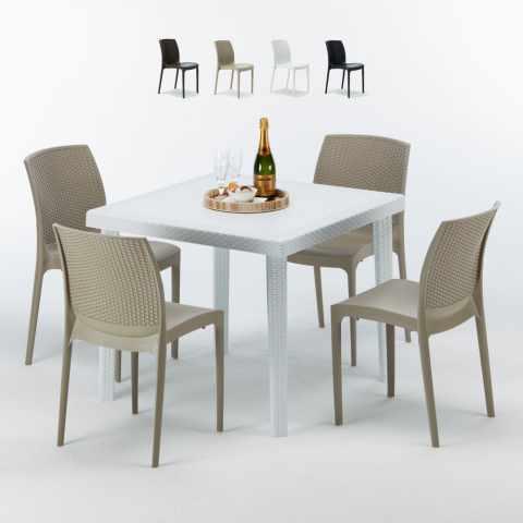 Tavolo Bianco E Sedie Colorate.Sedie E Tavoli Polyrattan Per Giardino Esterni E Bar