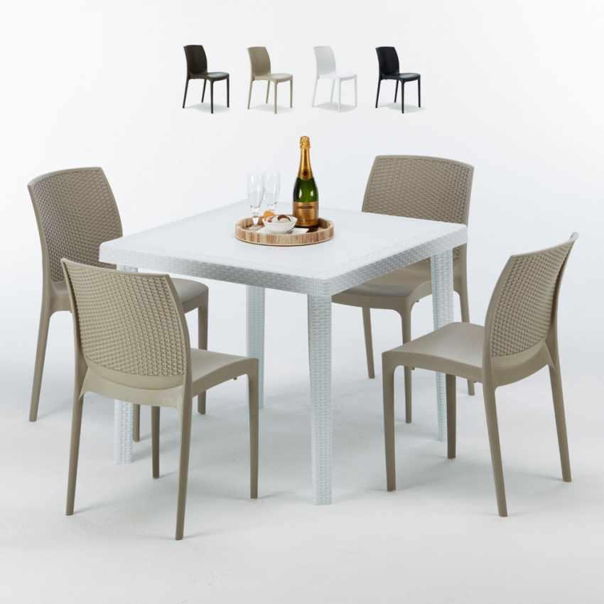 Tavolino Quadrato Bianco 90x90 cm con 4 Sedie Colorate BOHÈME LOVE - offert