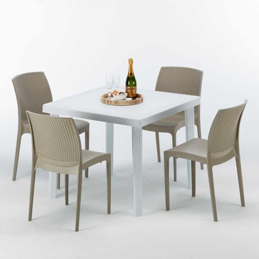 Tavolino Quadrato Bianco 90x90 cm con 4 Sedie Colorate BOHÈME LOVE - discount