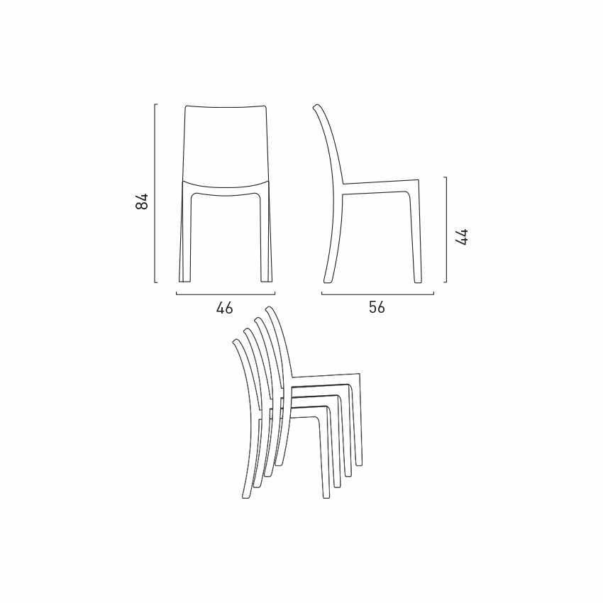 Tavolino Quadrato Bianco 90x90 cm con 4 Sedie Colorate BOHÈME LOVE - promo