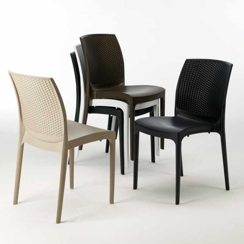 Tavolino Quadrato Bianco 90x90 Con 4 Sedie Esterno Bar BOHEME LOVE - offerta