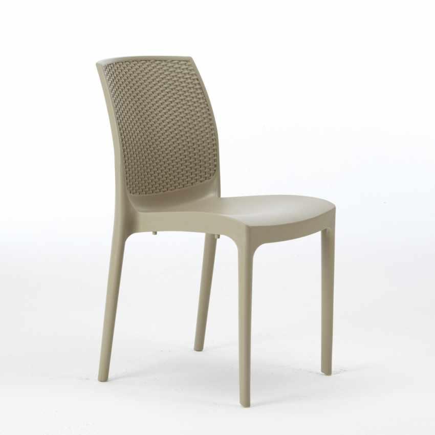 Tavolino Quadrato Bianco 90x90 Con 4 Sedie Esterno Bar BOHEME LOVE - esterno