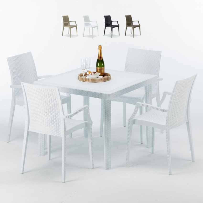 Tavolino Quadrato Bianco 90x90 cm con 4 Sedie Colorate BISTROT ARM LOVE - discount