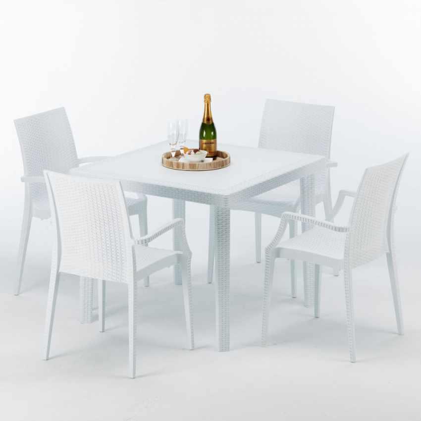 Tavolino Quadrato Bianco 90x90 cm con 4 Sedie Colorate BISTROT ARM LOVE - photo
