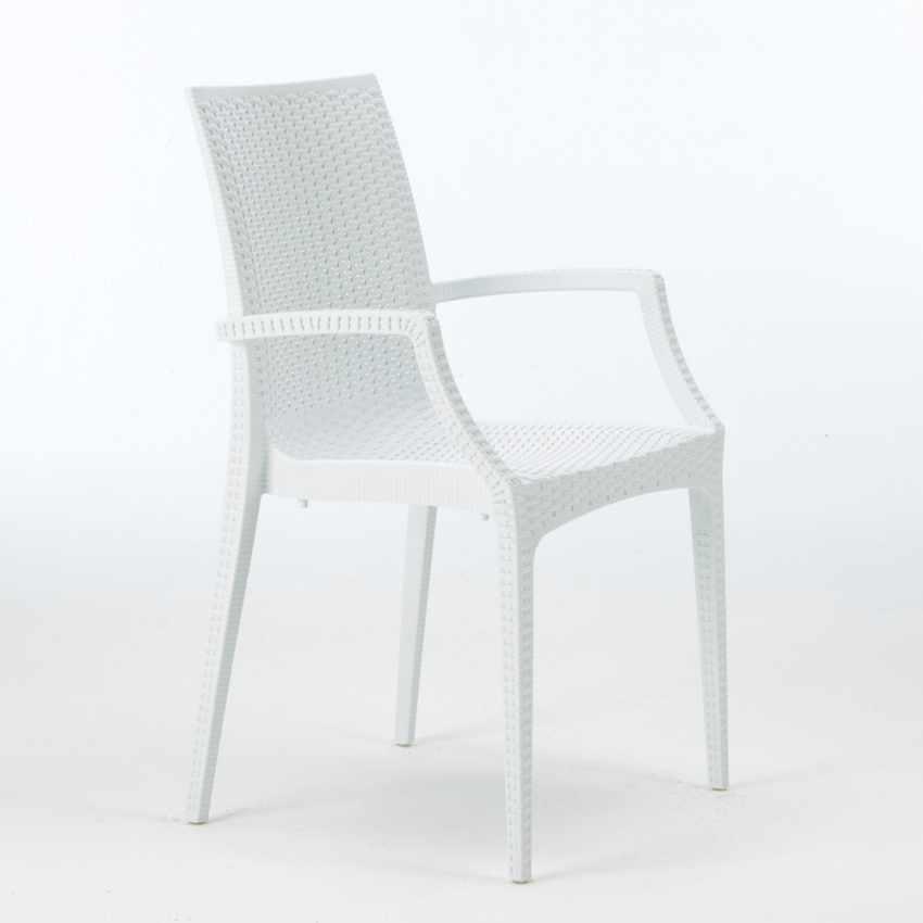 Tavolino Quadrato Bianco 90x90 cm con 4 Sedie Colorate BISTROT ARM LOVE - image