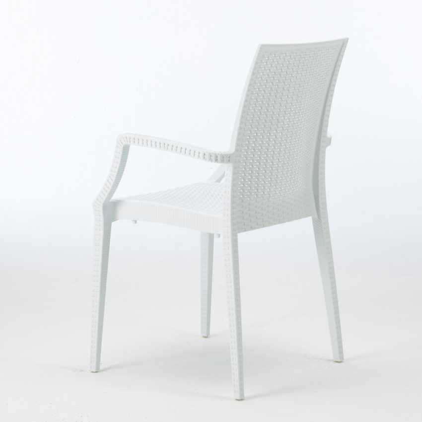 Tavolino Quadrato Bianco 90x90 cm con 4 Sedie Colorate BISTROT ARM LOVE - details