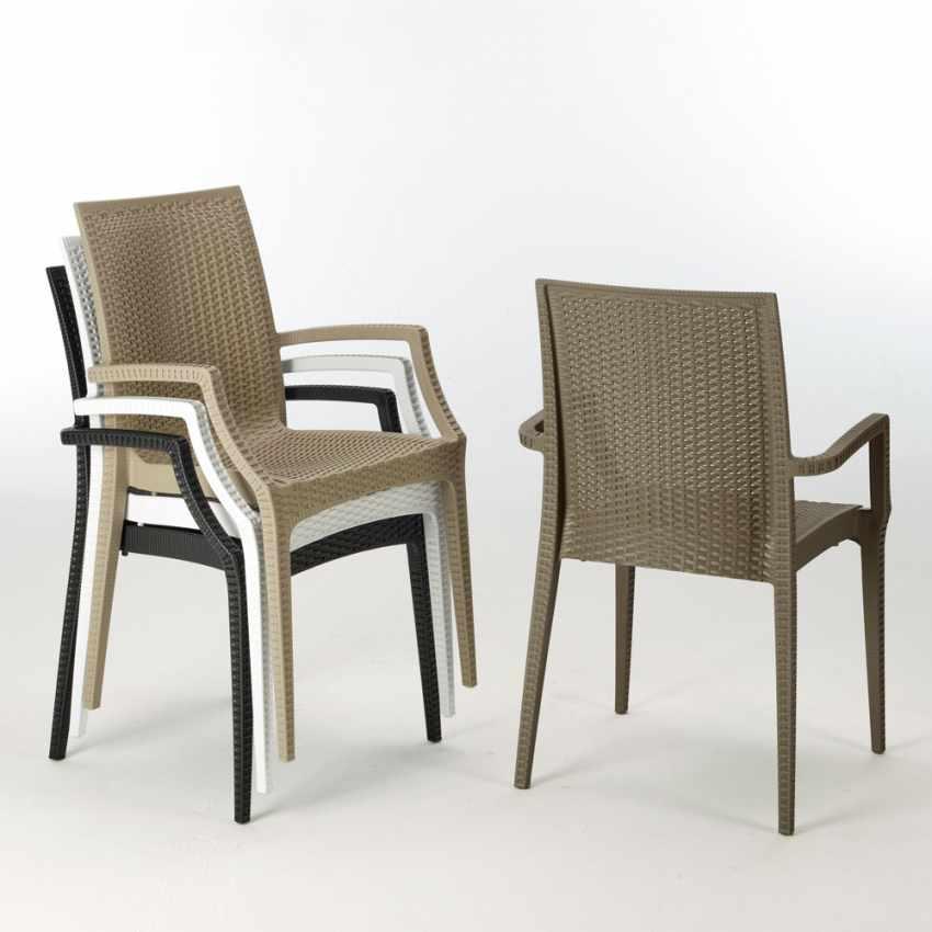 Tavolino Quadrato Bianco 90x90 cm con 4 Sedie Colorate BISTROT ARM LOVE - outdoor
