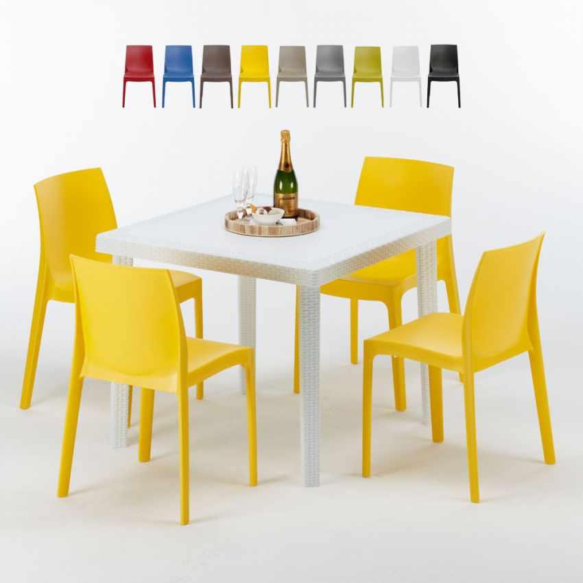 Tavolino Quadrato Bianco 90x90 Con 4 Sedie Esterno Bar ROME LOVE - promo