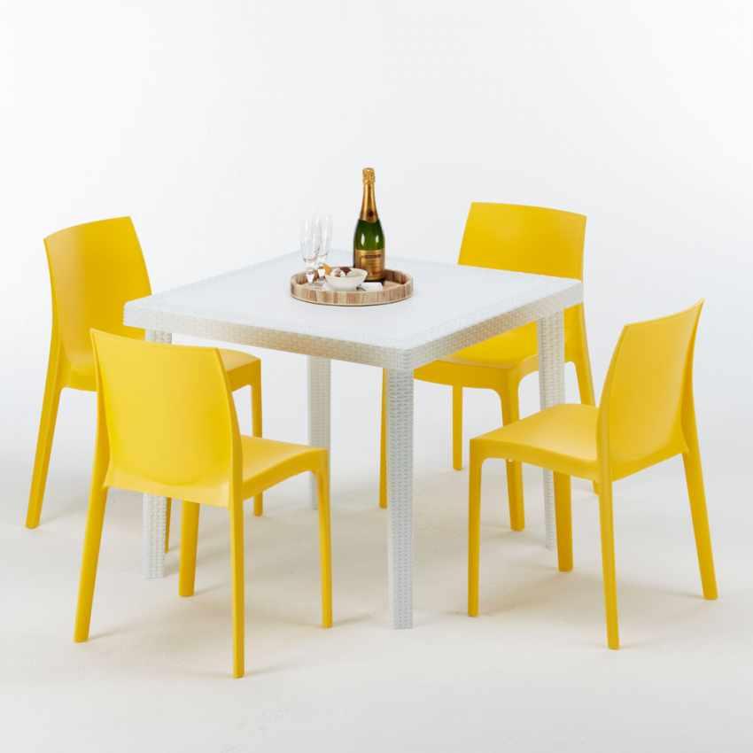 Tavolino Quadrato Bianco 90x90 Con 4 Sedie Esterno Bar ROME LOVE - interno