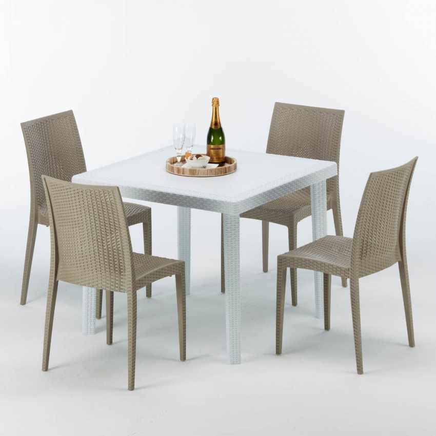 table carr e blanche 90x90cm avec 4 chaises color es grand. Black Bedroom Furniture Sets. Home Design Ideas