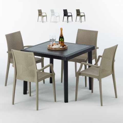 Tavolo Nero Sedie Bianche.Sedie E Tavoli Polyrattan Per Giardino Esterni E Bar Modelli E Prezzi