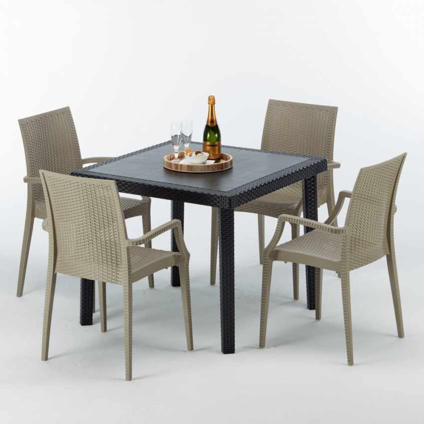 Tavolino Quadrato Nero 90x90 Con 4 Sedie Esterno Bar ARM BISTROT PASSION - vendita