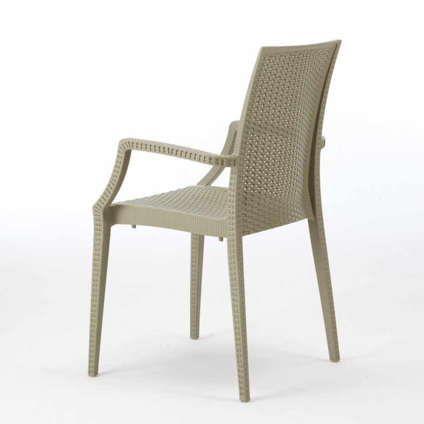 Tavolino Quadrato Nero 90x90 Con 4 Sedie Esterno Bar ARM BISTROT PASSION - esterno