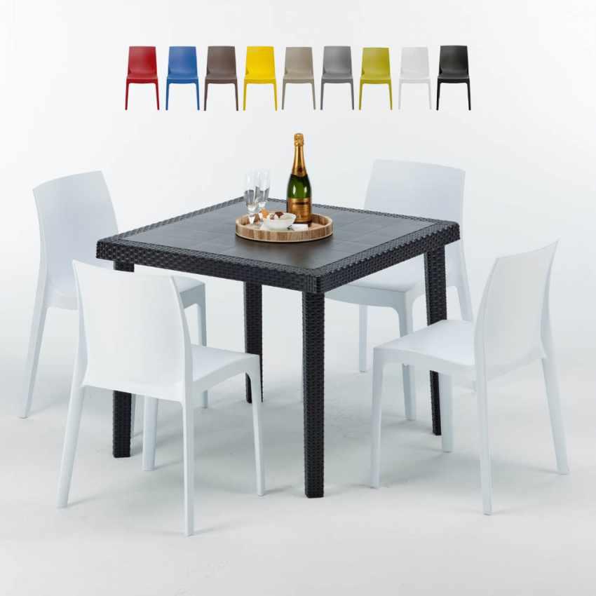 Tavolino Quadrato Nero 90x90 Con 4 Sedie Esterno Bar ROME PASSION - promo