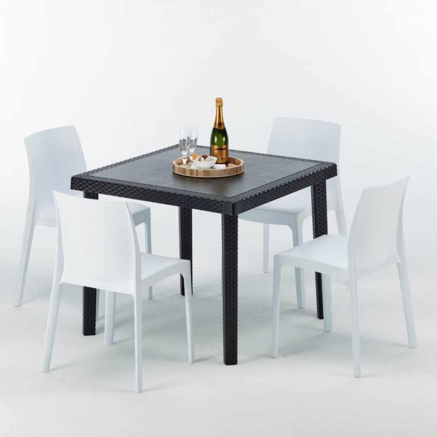 Tavolino Quadrato Nero 90x90 Con 4 Sedie Esterno Bar ROME PASSION - immagine