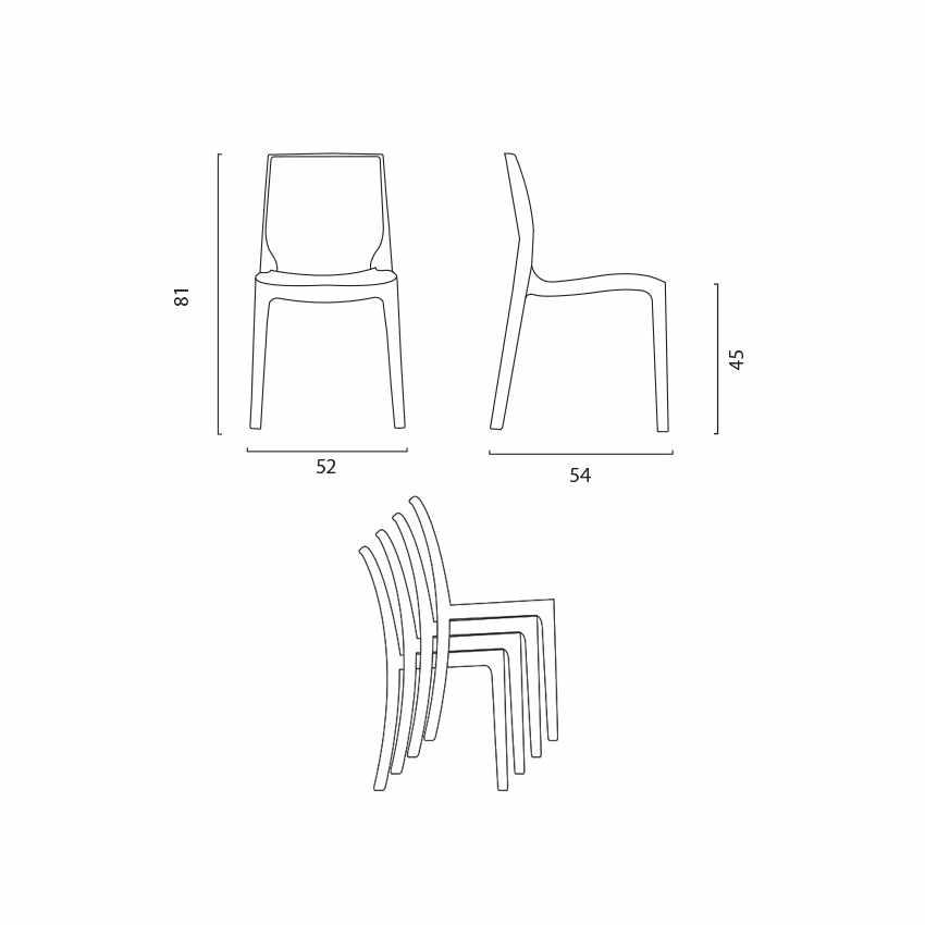 Tavolino Quadrato Nero 90x90 Con 4 Sedie Esterno Bar ROME PASSION - nuovo