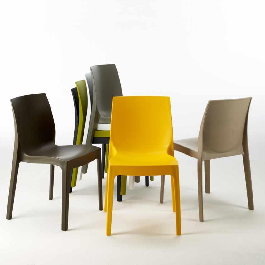 Tavolino Quadrato Nero 90x90 Con 4 Sedie Esterno Bar ROME PASSION - dettaglio