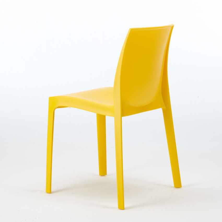 Tavolino Quadrato Bianco 90x90 Con 4 Sedie Esterno Bar ROME LOVE - offerta