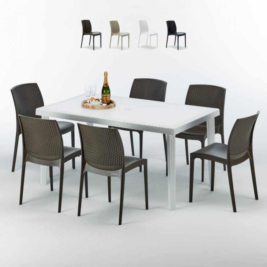 Tavolo Rettangolare Bianco 150x90 Con 6 Sedie Esterno Bar BOHEME SUMMERLIFE - promo