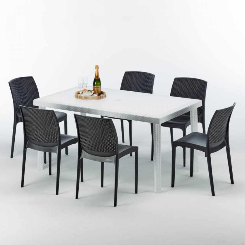 Tavolo Rettangolare Bianco 150x90 Con 6 Sedie Esterno Bar BOHEME SUMMERLIFE - dettaglio
