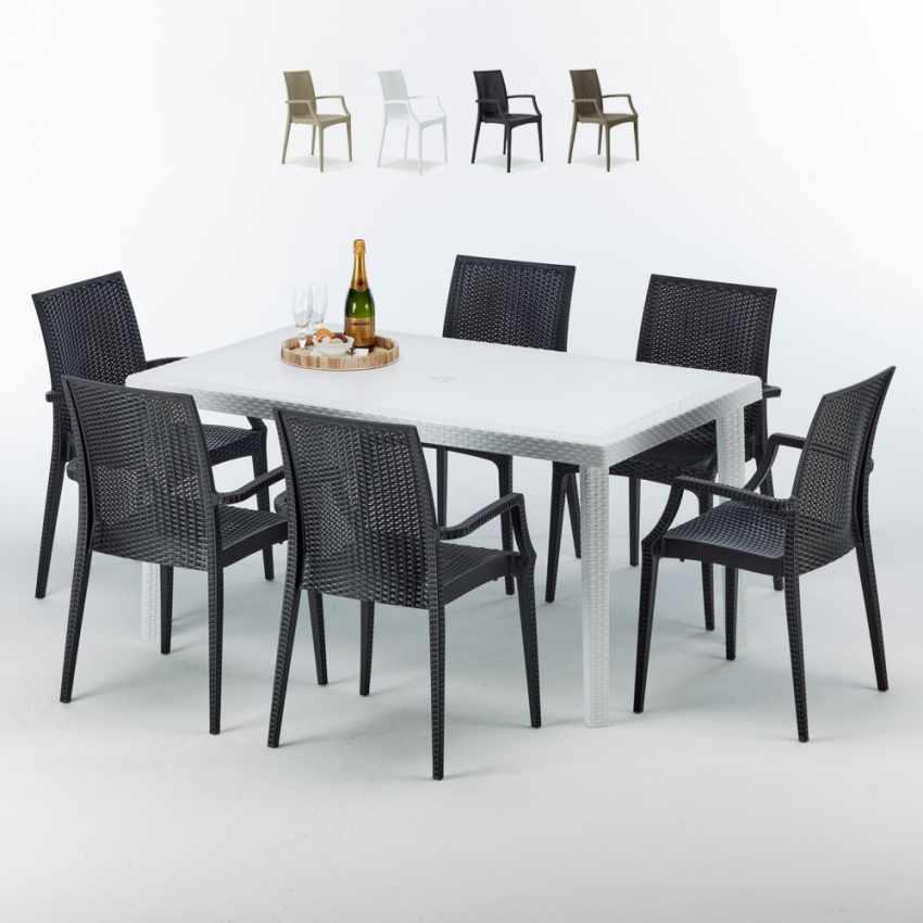 Tavolo Rettangolare Bianco 150x90 cm con 6 Sedie Colorate BISTROT ARM SUMMERLIFE - indoor