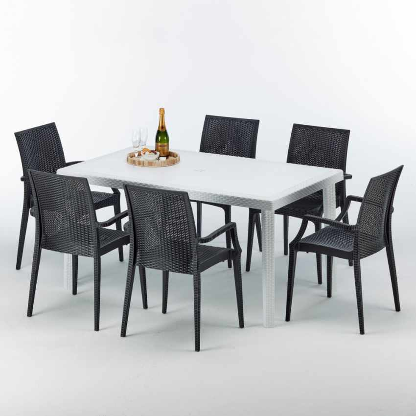 Tavolo Rettangolare Bianco 150x90 Con 6 Sedie Esterno Bar ARM BISTROT SUMMERLIFE - migliore