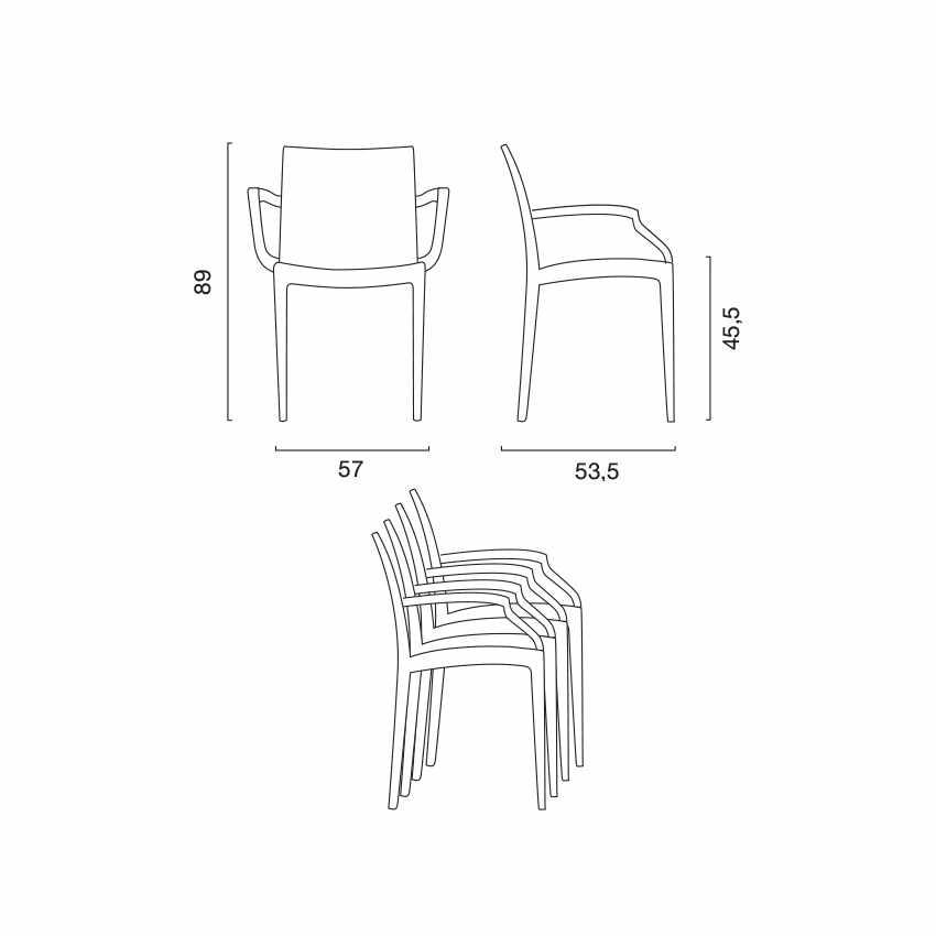 Tavolo Rettangolare Bianco 150x90 cm con 6 Sedie Colorate BISTROT ARM SUMMERLIFE - forniture