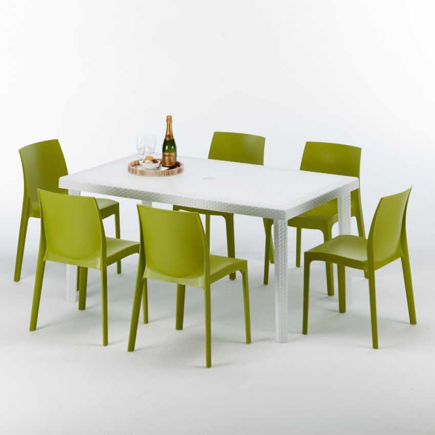 Tavolo rettangolare bianco 150x90 con 6 sedie esterno bar for Sedie tavolo esterno