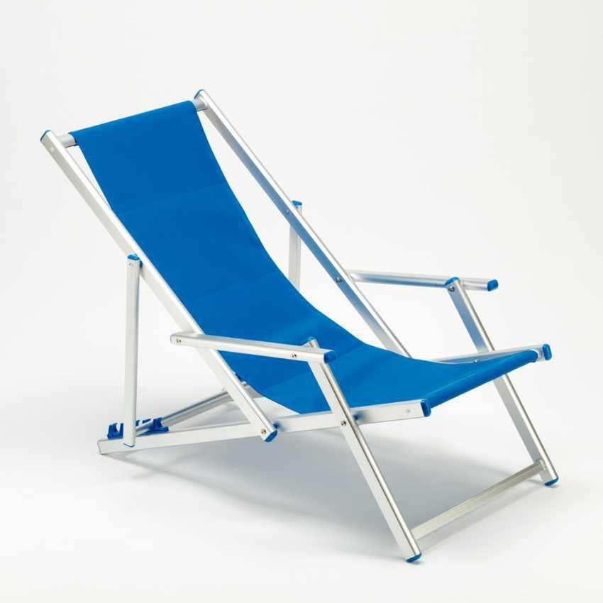 Sedia A Sdraio Alluminio.Sedia Sdraio Alluminio Con Braccioli Riccione Lux Blu Ii Scelta