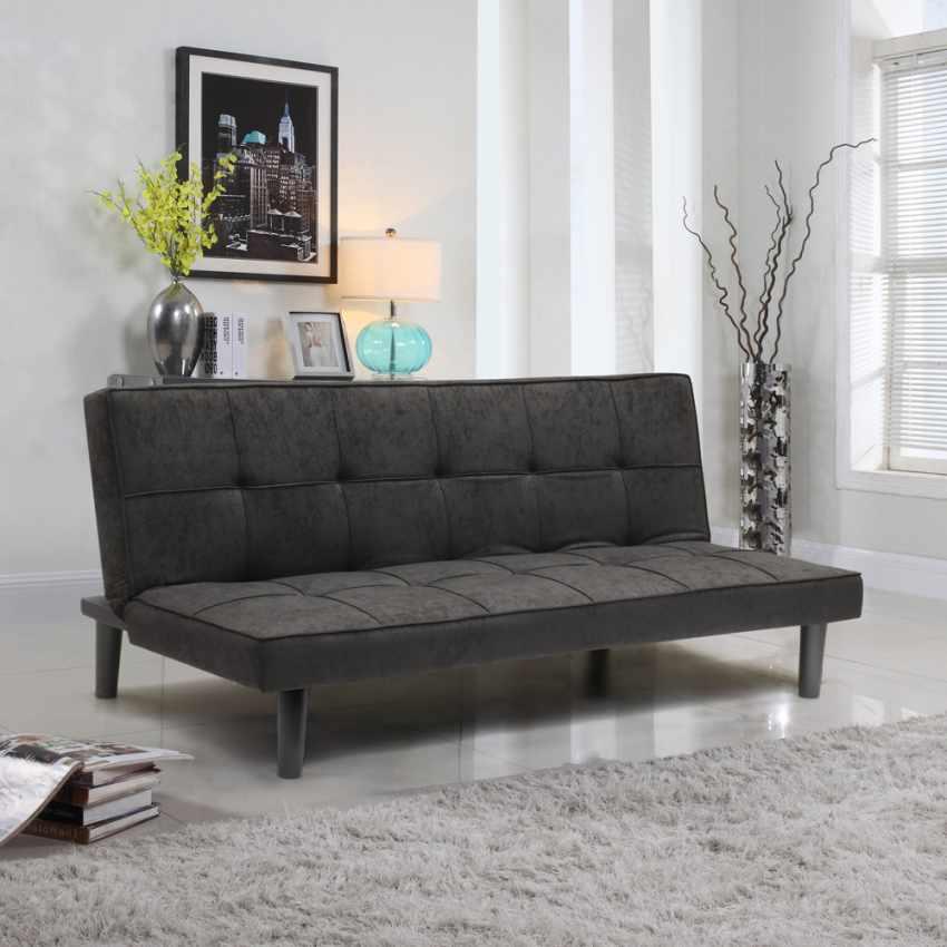 Canapé Convertible Design Minimaliste en tissu 2 Places pour maison et bureau GIADA - immagine