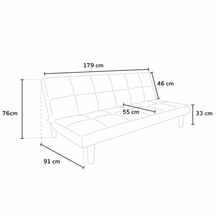 Divano Letto Design in tessuto 2 Posti per casa e ufficio GIADA - forniture