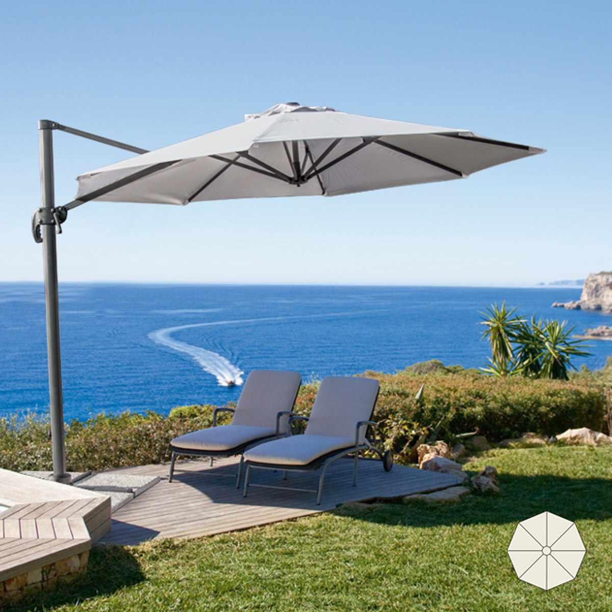 PA300UVA - Ombrellone giardino 3 metri braccio decentrato alluminio Paradise -
