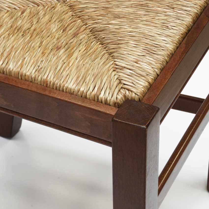 Silla de madera con asiento de paja para cocina y comedor SILVANA