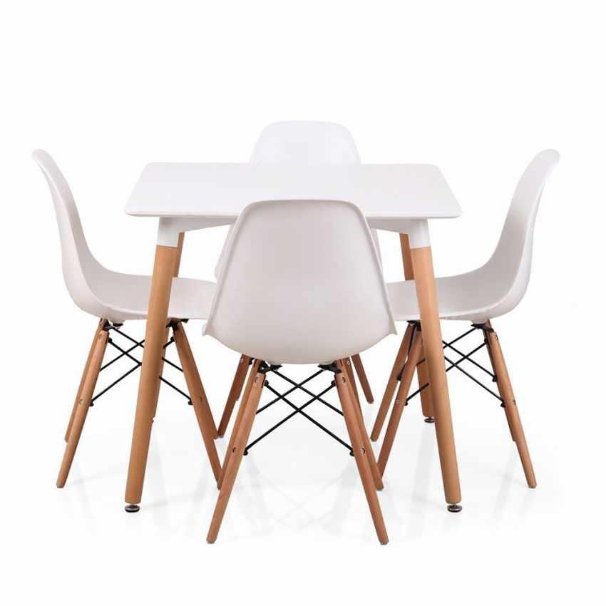 Conjunto mesa + 4 sillas para bar restaurante salón WOODY