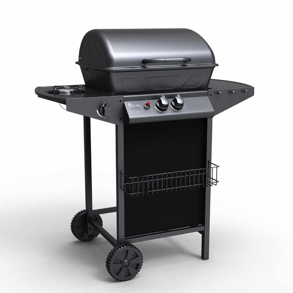 Barbecue a gas in acciaio inox con 2+1 bruciatori e griglia Holstein