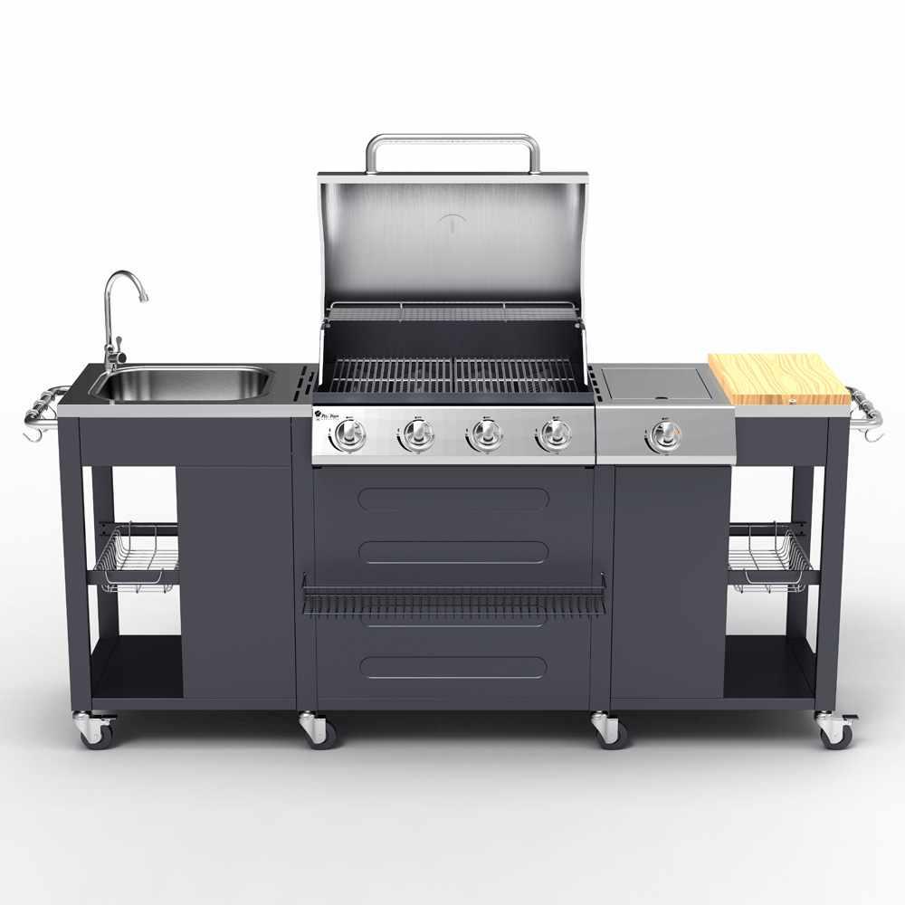 Barbecue Professionale a Gas Acciaio Inox 4+1 Bruciatori Griglia e Lavello BEEFMASTER