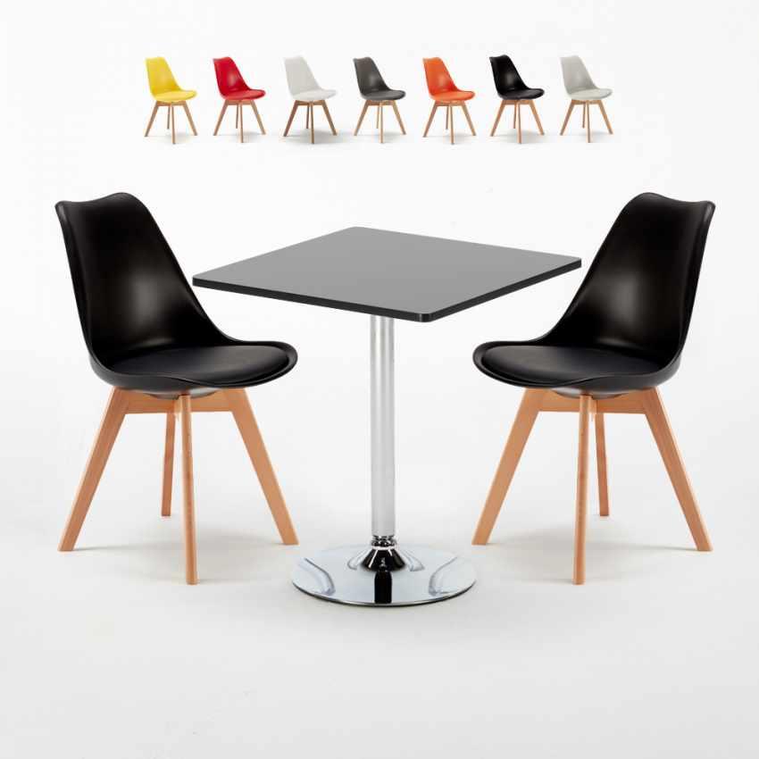 Table Carrée Noire 70x70cm Avec 2 Chaises Colorées Set Intérieur Bar Café  NORDICA MOJITO