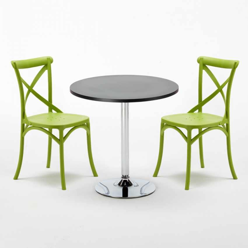 table carr e ronde 70x70cm avec 2 chaises color es set. Black Bedroom Furniture Sets. Home Design Ideas