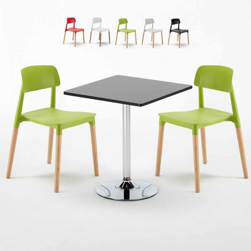 Table Carrée Noire 70x70cm Avec 2 Chaises Colorées Set Intérieur Bar Café  BARCELLONA MOJITO