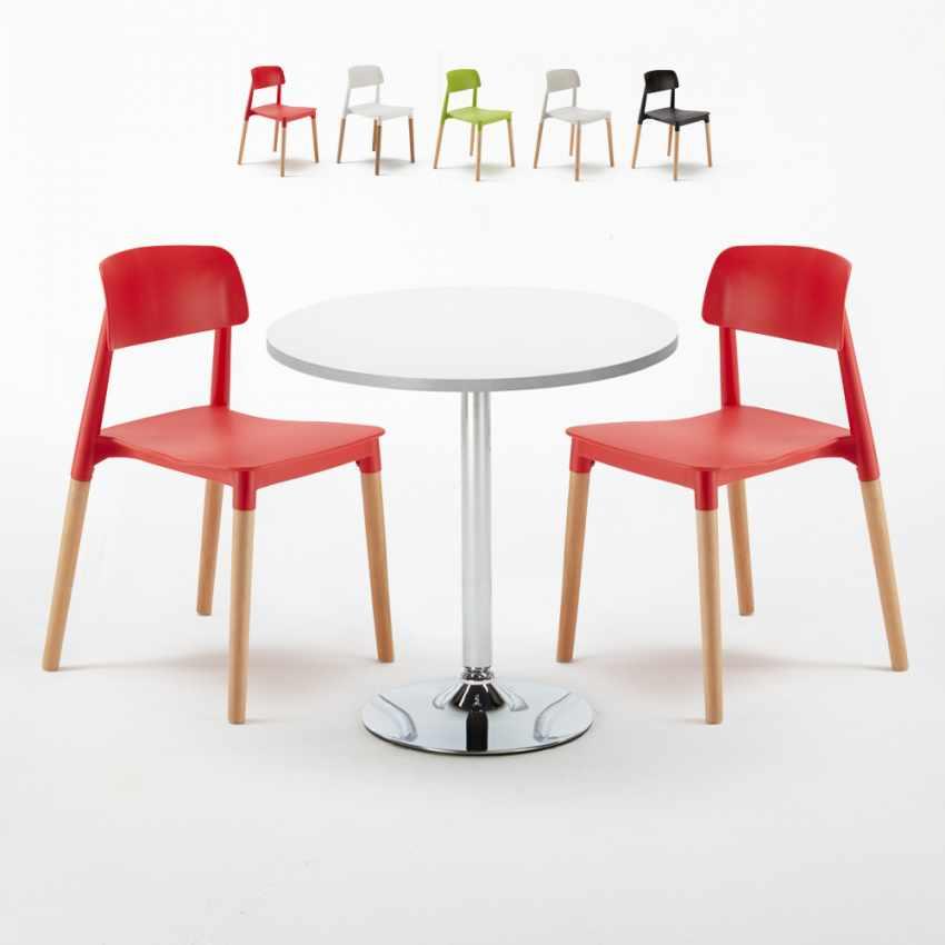 Intérieur Ronde Island Set Avec Blanche Table Bar Barcellona Chaises Colorées 2 Café Long 70x70cm Ok0wn8PX