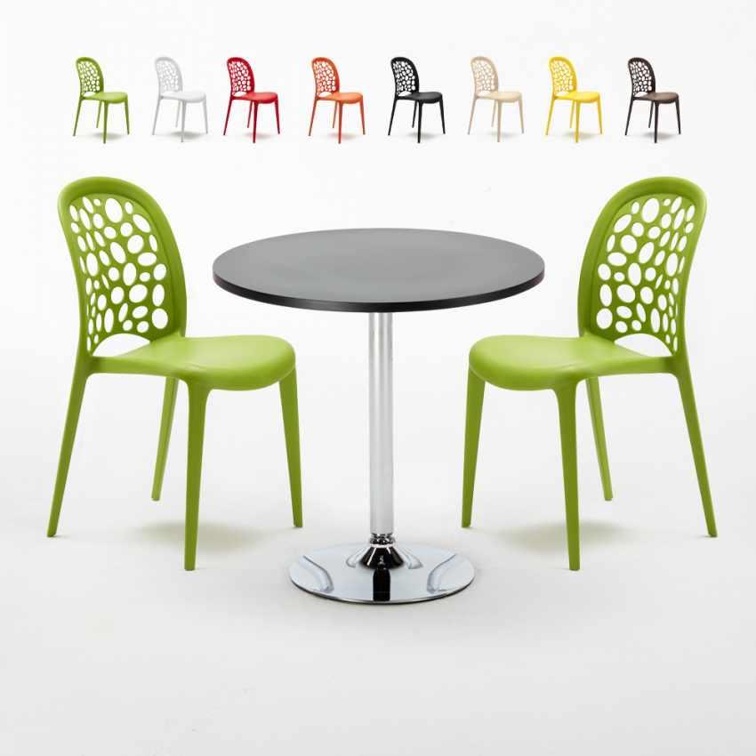 Table Ronde Noire 70x70cm Avec 2 Chaises Colorées Set Intérieur Bar ...
