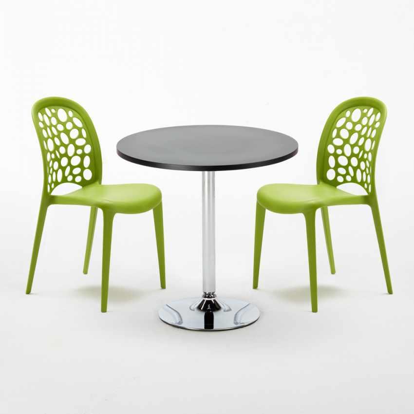 table ronde noire 70x70cm avec 2 chaises color es set. Black Bedroom Furniture Sets. Home Design Ideas