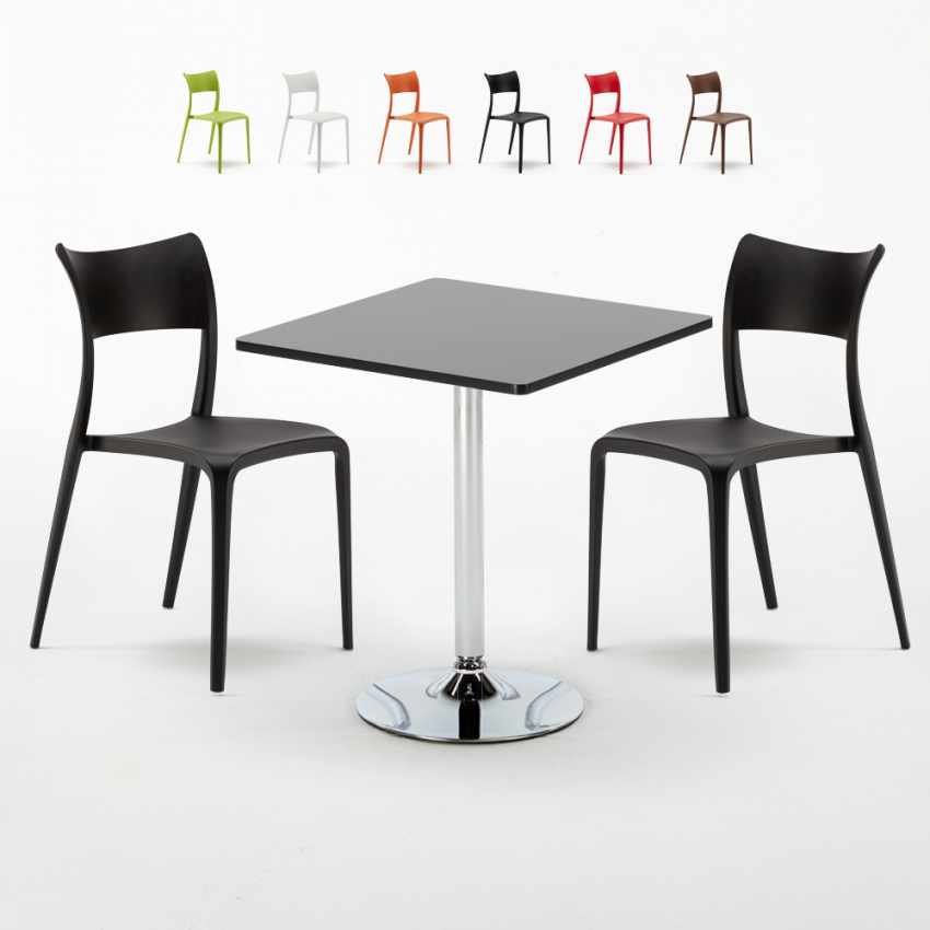 schwarz quadratisch tisch und 2 st hle farbiges. Black Bedroom Furniture Sets. Home Design Ideas
