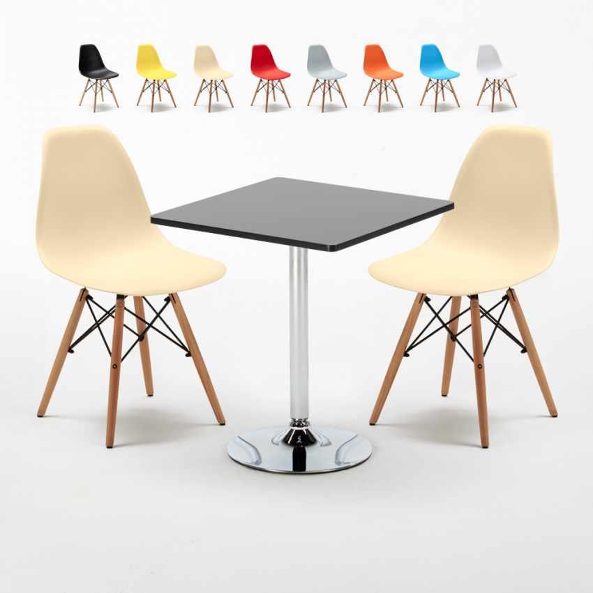 Noire Chaises Carrée Set 70x70cm Avec Table Bar Intérieur ...
