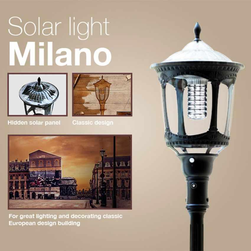 Photovoltaik Straßenlampe mit Solarplatte Solarleuchte viktorianischer Stil MILANO - promo