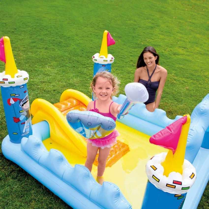 Piscina hinchable para niños Intex 57138 Fantasy Castle castillo de juego tobogán - esterno