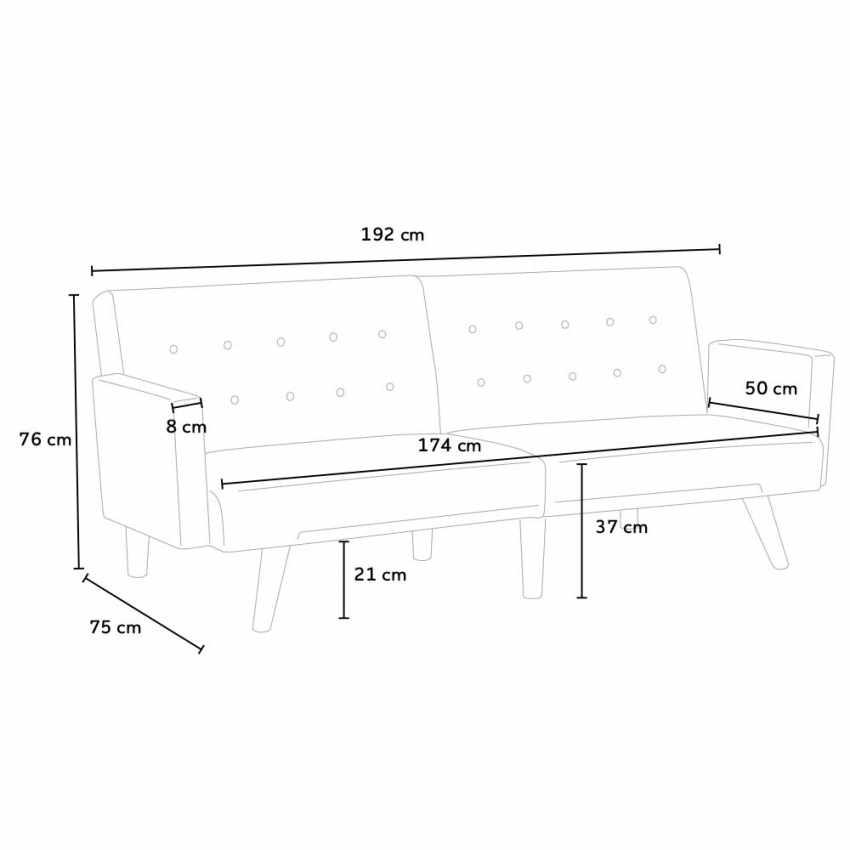 Divano letto reclinabile 3 posti in tessuto rialzato ELIODORO - offert