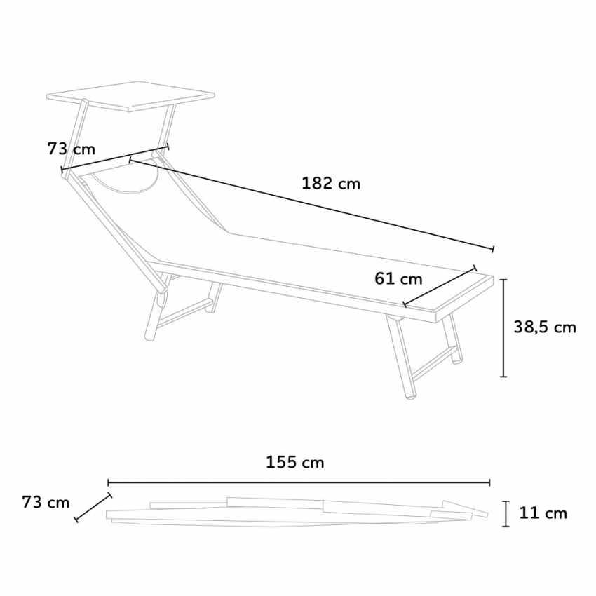Lettini mare prendisole professionali alluminio SANTORINI 4 pezzi - dettaglio