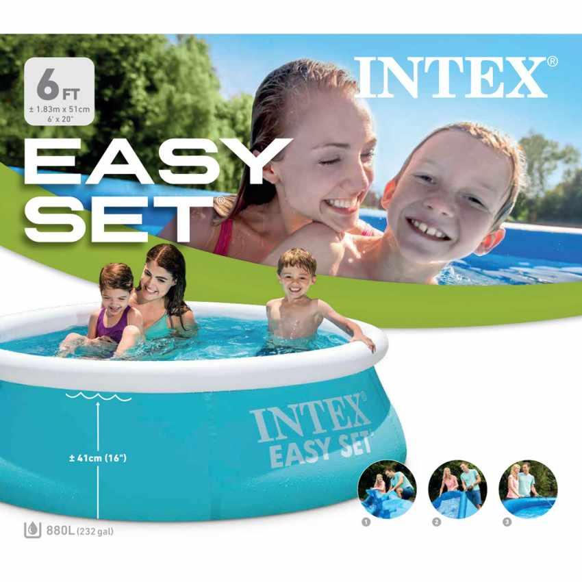 Intex 28101 Easy Set piscina fuori terra gonfiabile rotonda 183x51 - dettaglio