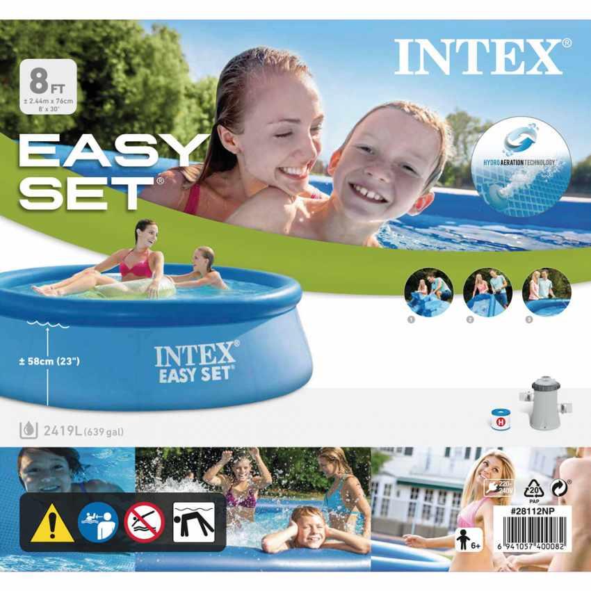 Piscina Gonfiabile Intex 28112 244x76 Rotonda Fuori Terra Con Pompa Filtro PVC - best